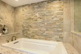 Accent Wall Bathroom Drop In Bathtub With Natural Stone Accent Wall This Master
