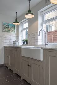Galley Style Kitchen Layout Trendy Pendant Lamps Over Cool White Single Farmhouse Sink And