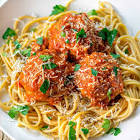 arrabiatta pork meatball spaghetti