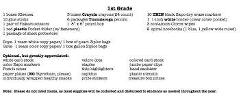 Class Supply Lists Copper Ridge Elementary