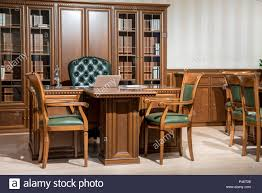 Design Classic Office Chair Interior Of Office Room With Chairs And Laptop On Wooden