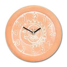 full image for terracotta outdoor clock and thermometer terracotta garden clock moon and sun terracotta garden