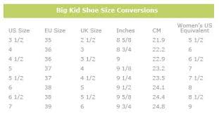 Big Kids Shoe Size Chart Womens To Big Kids Shoes Size Conversion Chart Save Money