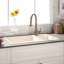 Granite Composite Kitchen Sinks 34 Arvel 70 30 Offset Double Bowl Drop In Granite Composite Sink