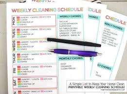 cleaning schedule printable printable weekly cleaning schedule