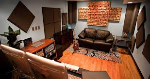 A Home Studio With Sustain WavePrism Bamboo Diffusors On The Back Wall,  SonoColumn Bass Traps In The Corners, And Studiofoam Pro On The Side Walls