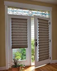 French doors with stained glass and shades choosing blinds for french doors  with stained glass and