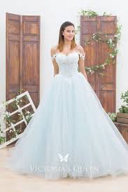 Light Blue Wedding Dress With Sleeves Light Blue Lace Tulle Off Shoulder Wedding Ball Gown