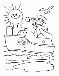 Captain And His Ship Coloring Page For Kids Transportation Coloring