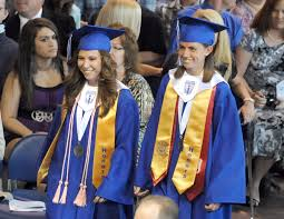 photo gallery notre dame regional high school commencement senior class president katherine bohn and valedictorian elizabeth kiblinger through the crowd sunday 20 2012 during the notre dame regional high
