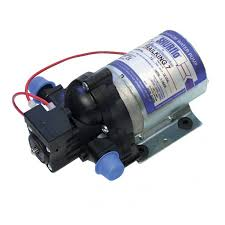 a typical electric fresh water pump note the distinguishing names and numbers on the pump