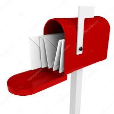3d mail box with letter inside stock image