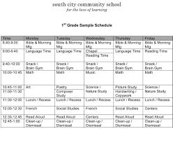 Sample Schedules Sample Schedule Sample Schedules South City Community School A Charlotte Mason 24