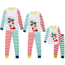 Mama Dad Kid Ho Ho Ho Santa Claus Print Family Matching Clothes Long Sleeve And Pants Striped Christmas Pajamas Set