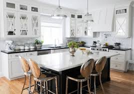 Black Kitchen Island with Philippe Starck Kong Counter Stools