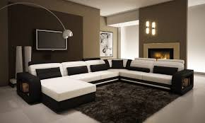 Contemporary Black and White Leather Sectional Sofa