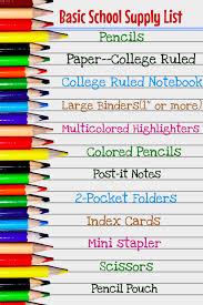 School Supplies List Template School Supply List
