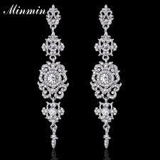 fl shape silver crystal long dangle drop earrings wedding bridal chandelier party fantaisie femme pendantes eh182 high quality earrings fai china