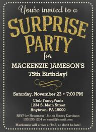 75th birthday surprise invites chalkboard surprise party invitation man or woman