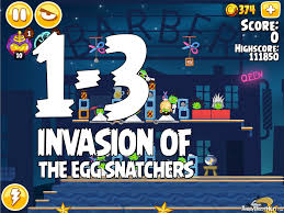 Angry Birds Seasons Invasion of the Egg Snatchers Level 1-3 Walkthrough