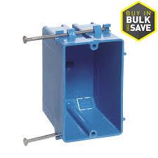 carlon 1 gang blue plastic interior new work standard switch wall electrical box