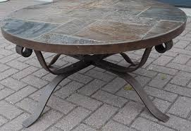 round wrought iron coffee table mherger furniture round stone top coffee table nrhcares