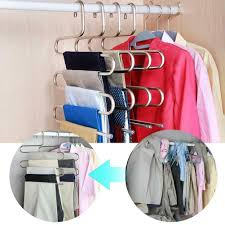 details about s type stainless steel pant trousers hanger clothes rack closet holder organizer