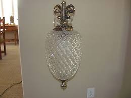 vintage hanging art deco swag light fixture with chain clear glass diamond cut