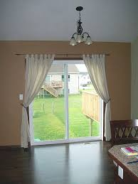 Furniture, Cozy Interior With Patio Door Curtain Ideas With White Color And  Cream Wall With Green View Outside: Patio Door Curtain Ideas for Comfy  Privacy