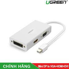 Cáp chuyển đổi 3 trong 1 Mini displayport to HDMI / VGA / DVI hỗ trợ 4k*2k  Ugreen 20417 Trắng hoặc Ugreen 20418 Đen - Hàng chính hãng