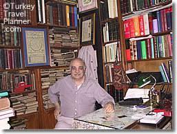 an antiquarian bookseller in his in the sahaflar Çarşısı old book bazaar istanbul