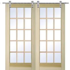 poplar 15 lite double door with barn door hardware kit