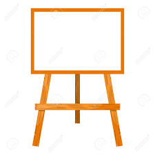 vector wooden easel with a blank canvas cartoon style style