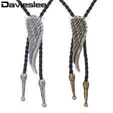 davieslee mens chain knot wing bull head pendant necklace man made leather cowboy brass silver 40inch lunm30