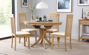 gallery hudson round oak extending dining table with 4 oxford ivory chairs