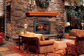 rustic home interior design with masonry firerock fireplace ideas and stone tile pattern flooring