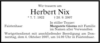 Traueranzeigen von Herbert Nix   trauer.merkur.de