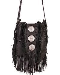 zoomed image scully black leather fringe with large conchos shoulder bag black hi res