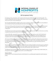 national council of nonprofits sle gift acceptance policy