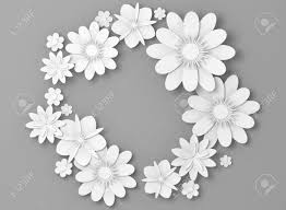 White Paper Flower Backdrop White Paper Flowers Round Decoration Over Light Gray Backdrop