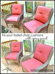 fix your faded chair cushions with spray paint update
