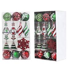 valery madelyn 50ct classic traditional shatterproof ball ornaments decoration red green white 50 metal hooks