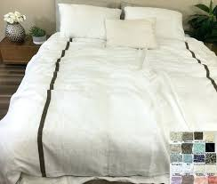 striped linen duvet cover linen duvet cover with piping finish and stripes white grey cream pink