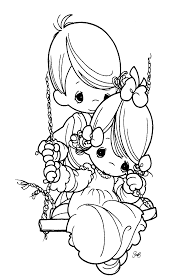 free precious moments coloring pages.  Coloring Precious Moments Images Clipart  Free Moments Coloring Sheets Of  Young Boy Pushing A Girl On  And Precious Coloring Pages