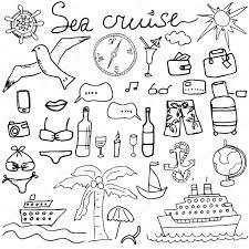 手描きスケッチ海クルーズいたずら書きベクトル旅行のイラストや夏の分離