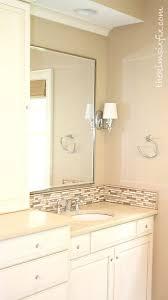 Updating A Vanity With A Custom Tile Backsplash The Kim Six Fix Unique Tile Backsplash In Bathroom