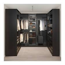PAX corner wardrobe, black-brown