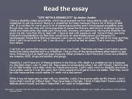 life a disability ldquo lesson plan the following lesson be the essay life a disability by amber junker i have a disability called spina