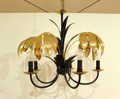 five armed chandelier with black and gold metal and palm leaves 1970s 2