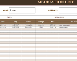 Medication Lists Templates Medication List Template Template Business